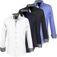 Camicia Uomo Celeste Slim Fit Sartoriale Manica Lunga Cotone Con Check S M L XL