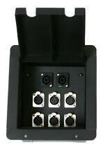Elite Core Recessed Pocket Stage Floor Box w/6 XLR Mic + 2 Speakon Connectors