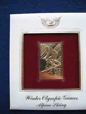 1984 Winter Olympic Games Alpine Skiing Replica 22kt Gold GOLDEN FDC Cover STAMP