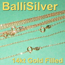 """50 pieces Real 14kt GOLD FILLED Fine Flat CABLE Chain NECKLACES Lot 18"""" 45cm"""