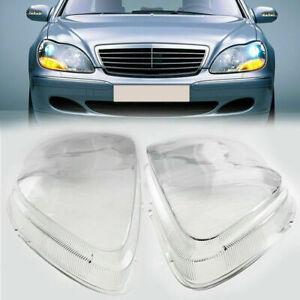 Pair Headlight Lenses Headlamp Cover Fit For Mercedes Benz S-Klasse W220 98-05