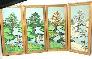 "Vintage Framed  Fabric Painting 4 panels Deer Woods  four seasons 22"" x 9.5"" MOD"