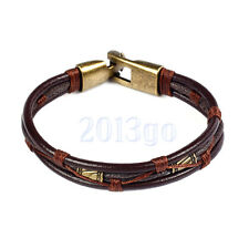 Mens Leather Braided Wrist Cuff Band Brown Rope Bracelet Bangle 8.5in Yg