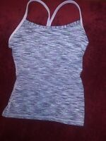 Lululemon Power Y Tank Space Static Lilac Purple  Top Sz 8  Work Out Yoga Sexy