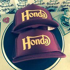 HONDA burgundy hat vintage cb chopper cafe racer norton triumph motor motorcycle