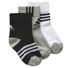 Adidas Niños 3er Zapatillas Calcetines Set Jóvenes Pequeños Gris Blanco Negro