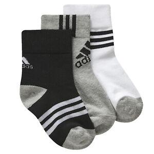 Adidas Children 3er Sneaker Socks Set Boys Toddler Grey White Black 19-22