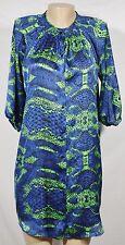 AQUA Blue Black Green Snakeskin print Shirt Dress Medium 3/4 Sleeves Unlined