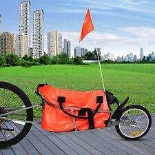 "New 60"" Single Wheel Bicycle Cargo Trailer w/Orange Cargo Bag"