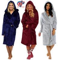US Women Ladies Dressing Gown Hooded Fleece Fluffy Soft Warm Bath Robe Nightwear