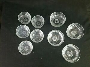 """Lot Of 8 Arcoroc France Crystal Glass Four 5"""" W Four 4"""" Starburst Berry Bowls"""
