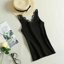 New Women Knitted Lace Summer V Neck Vest Top Sleeveless Blouse Tops T-Shirt Tee