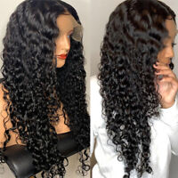 New Deep Wave Curly Wigs 150% Density Brazilian Remy Human Hair Lace Front Wig U