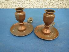 2 bougeoirs chandelier chien cor de chasse candlestick cuivre Gaor 50 Villedieu
