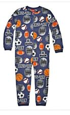 New NWT L 14 boys 1 piece non footed pajamas blanket sleeper fleece navy sport