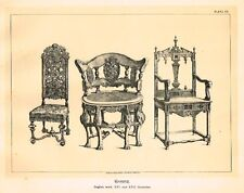 Art Furniture c1880  CHAIRS, ENGLISH WORK - XVI CENT  Antique Duotone Lithograph