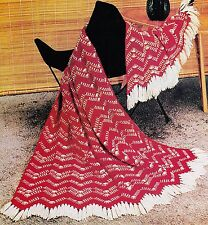 INTERESTING Chevron Tweed Afghan/Crochet Pattern INSTRUCTIONS ONLY
