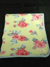 Baby LuLu  Yellow w Pink Roses Baby Blanket Reversible Stripes Security Lovey