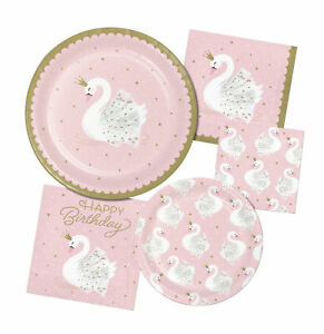 Pink Stylish Swan Party Decoration Tableware Banner Plate Napkin Cup Table Cover