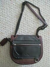 Coach Black & Wine Saddle Handbag Chain Strap Whipstitch