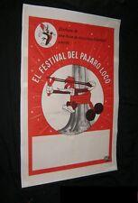 Original WOODY WOODPECKER FESTIVAL Linen Backed U.S. Printed Spanish Theatres