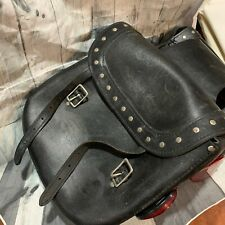 BLACK LEATHER RIDING SADDLE BAGS COWBOY SILVER ROCKER BUCKLE CLOSURE