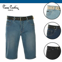 Pierre Cardin Mens Belt Denim Shorts Pants Trousers Bottoms Cotton Zip Summer