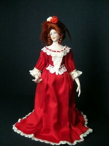 Exquisite dolls' house 1/12th scale doll by Celia Mayfield~~red silk gown~~