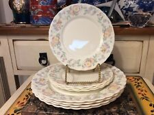 """8 Arcopal France """"Champetre"""" Pink FLowers Scalloped Salad and dinner plates"""