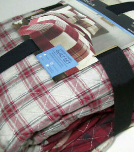 Cuddl Duds Thin Multi Colors Red Plaid Flannel Patchwork King Cal Quilt Shams