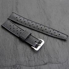 60s TROPIC Watch Strap MOD DEP SWISS Basket Weave 18mm Black Rubber Kevlar Grain