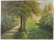 8360138 Öl-gemälde Autografato Glässner Erfurt 1916 Sentiero Nel Bosco Viale
