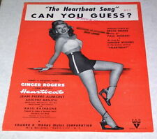 """Ginger Rogers 1946 Heartbeat Sheet Music """"The Heartbeat Song"""""""