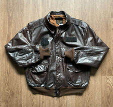 Avirex Type A-2 Brown Leather Flight Bomber Patch Jacket USA 48 AIR FORCE