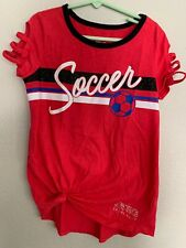 Girls Justice Soccer Athletic Active Wear Red Glitter Tee Tshirt Top  Size 8