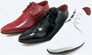 MENS BROGUE Red White Black PATENT GANGSTER POINTED LEATHER JAZZ SPAT SHOES