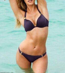 NWT Victoria's Secret Bikini Grape Purple Push Up Halter XS M Swimsuit 2 Pc SEXY