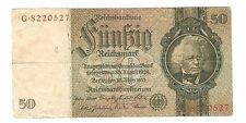 Banknote Geldschein Deutschland Deutsches Reich 50 Mark 1933 Ro. 175a
