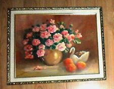 LOVELY VINTAGE ARTIST SIGNED CHIC POTTED SHABBY PINK ROSES FRAMED ART PAINTING