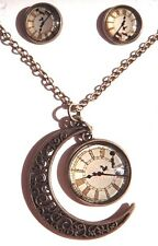 OFF TO NEVERLAND Peter Pan clock face glass pendant earrings & necklace set 6Z