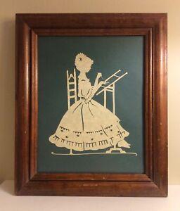 """Vintage PA Folk Art Schreneschnitte Paper Cut Art """"Girl with Embroidery"""" Framed"""