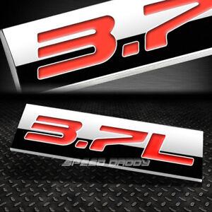 METAL EMBLEM CAR BUMPER TRUNK FENDER DECAL LOGO BADGE CHROME RED 3.7L 3.7 L