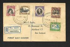 COOK ISLANDS 1938 REGISTERED FDC PICTORIALS TO NZ