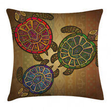 Ethnic Throw Pillow Case Three Turtles Ornamental Square Cushion Cover 16 Inches