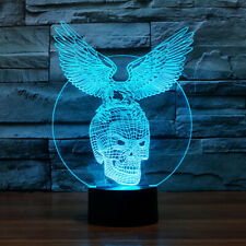 3D skull eagle acrylic visual table night light 7 color led sport lighting lamp