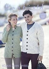 Sirdar 8101 Knitting Pattern Womens Mens Cardigans in Hayfield Bonus Aran Tweed