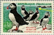 EBS France 1960 Bird Protection - Puffins MNH** (FR1326) variety YT1274a