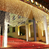 Dekor LED Eisregen Lichterkette Eiszapfen Lichtervorhang Vorhang  3x3m 300LED DE