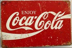 COKE Rustic Look Vintage Tin Metal Sign Man Cave, Shed-Garage & Bar