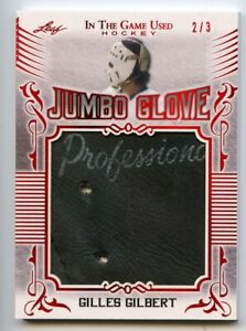 Gilles Gilbert 2020-21 Leaf In The Game Used Hockey Jumbo Glove Patch Red /3
